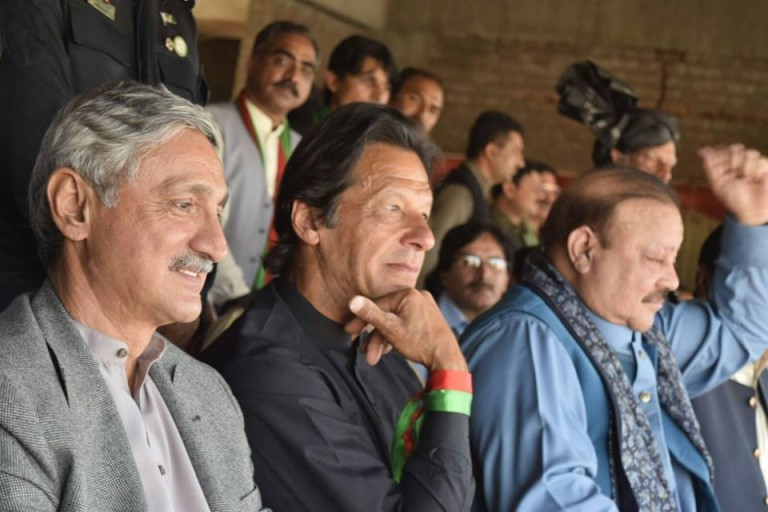 Imran Khan with Jahangeer Tareen and Sultan Mehmood in Kotli Jalsa