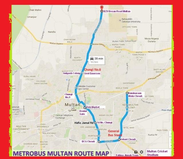 Metro Bus Islamabad: Multan Metro Bus Route Complete