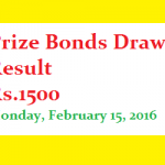 Prizebond draw result 1500
