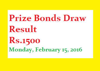 Prizebond draw result 1500