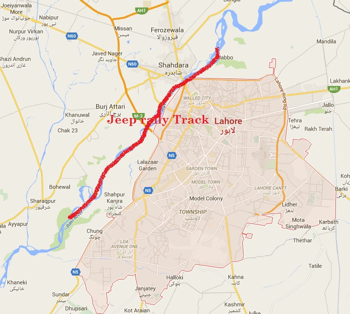 Lahore River Ravi Jeep Rally Route Map or Track