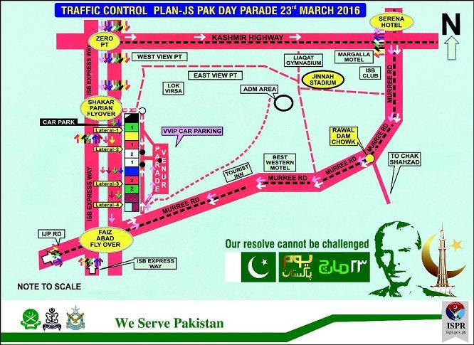 Traffic Plan in Rawalpindi Islamabad on March 23, 2016