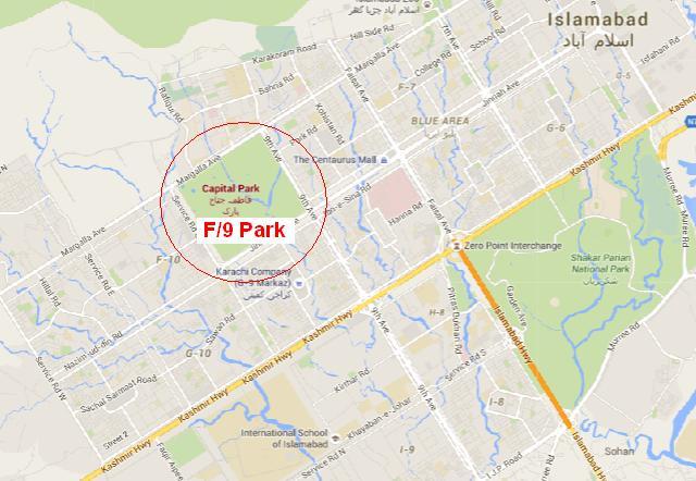 F-9 Park, Fatima Jinnah Park, Capital Park Islamabad - Location Map