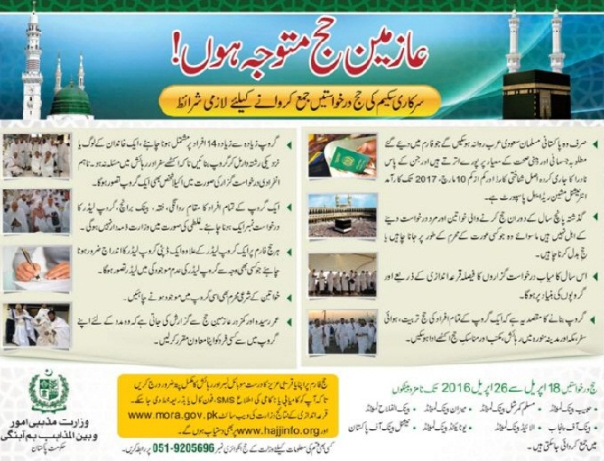Hajj Application Will be Submitted from 18-4-2016 to 26-04-2016