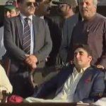PPP Jalsa Kotli - Ex PMs Yousuf raza Gilani and Raja Pervaiz Ashraf Sitting with Bilawal Bhutto Zardari 30-4-2016