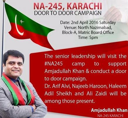 PTI Candidate Amjadullah Khan in NA-245 Karachi - Door to Door Campaign