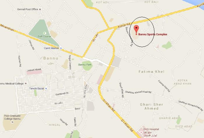 Bannu Sports Complex Kohat Road - Location Map