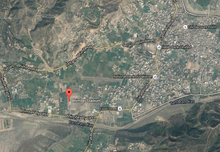 Bhimber Sports Stadium Azad Kashmir - Location Map near Bhimber by pass