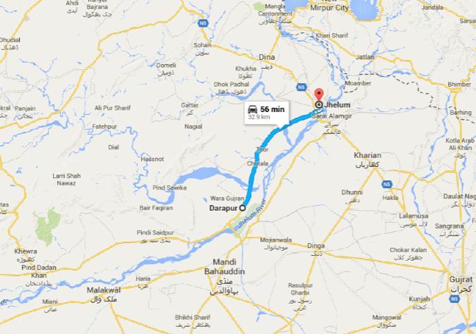 Darapur District Jhelum - Location Map - Pind Dadan Khan, Dinga, Mandi Bahauddin, Malikwal, Rasool Head Works