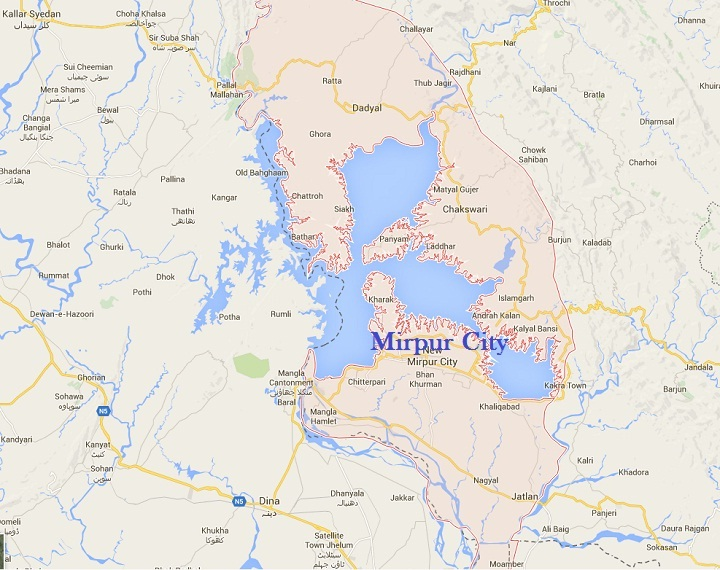 Map of Mirpur City and District in Azad Kashmir Near Dina ,Jhelum