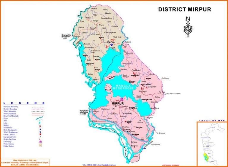 Mirpur District Azad Kashmir Detail Map of all Tehsils