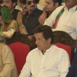 PTI Leaders Imran Khan, Sultan mahmood and Jahangeer Khan Tareen sitting in Muzaffarabad Jalsa 18-05-2016
