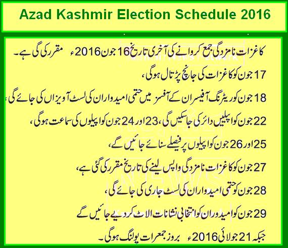 Azad Kashmir Election Schedule 2016