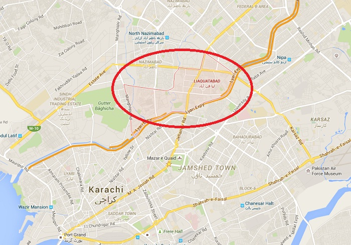Liaqatabad Karachi (Lallo Khait) - Location Map - Janaza of Amjad Sabri