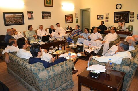 PTI Core Committee Meeting in Bani Gala Islamabad for Ehtasab Tehreek 2016 under Imran Khan Head