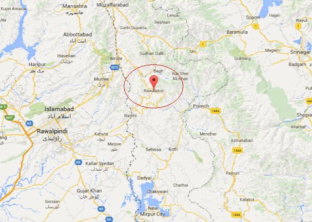 Rawlakot Azad Kashmir City Location Map