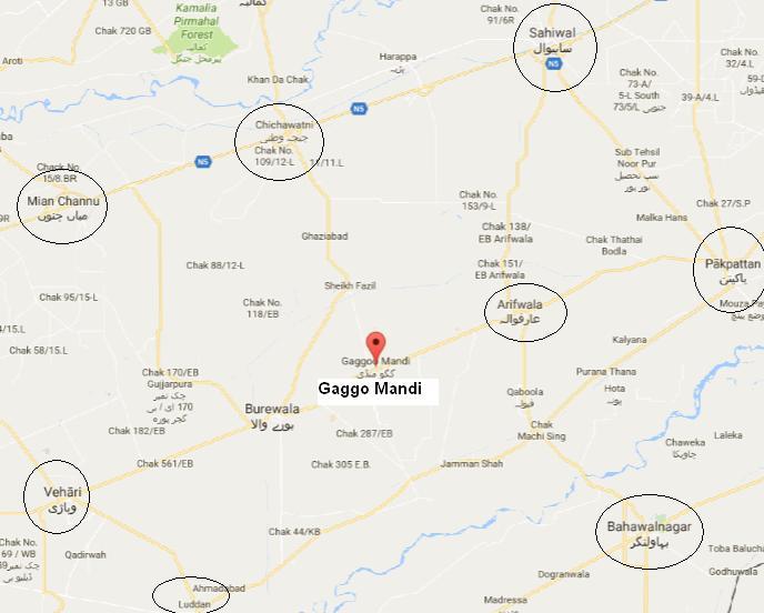Gaggo Mandi LOcation Map in District Vehari Near Burewala, Arifwala - PTI Imran Khan Jalsa