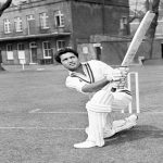 Legendary Pakistan Cricketer Hanif Muhammad in Action in Cricket Ground