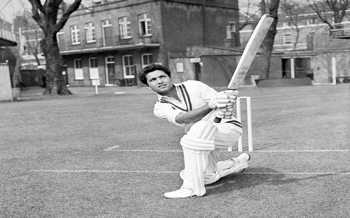 Legendary Pakistan Cricketer Hanif Muhammad in Action in Cricket Ground