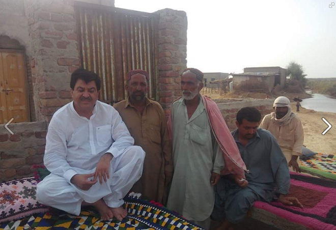 Muhammad Aslam Abro (PMLN) Candidate PS-14 in A Village with People at Bahadarpur Jacobabad
