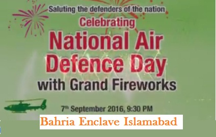 Bahria Enclave Islamabd Grand Fireworks Show on 7-9-2016 on National Defense Day