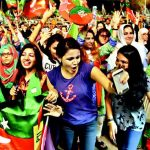 Girl Dancing in Imran Khan Karachi Jalsa and making Video of her own Dance also