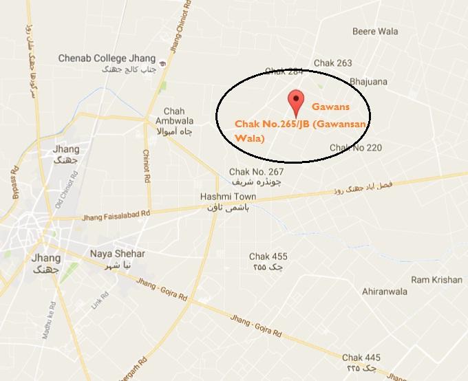 Chak No 265 JB Gawansaan Wala Faisalabad Road District Jhang - Location Map