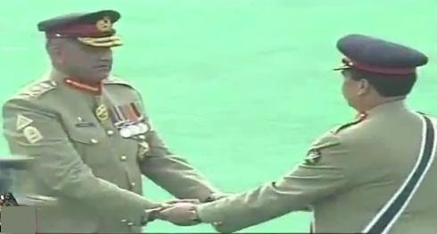 Raheel Sharif handing-over stick to General Qamar Javaid Bajwa