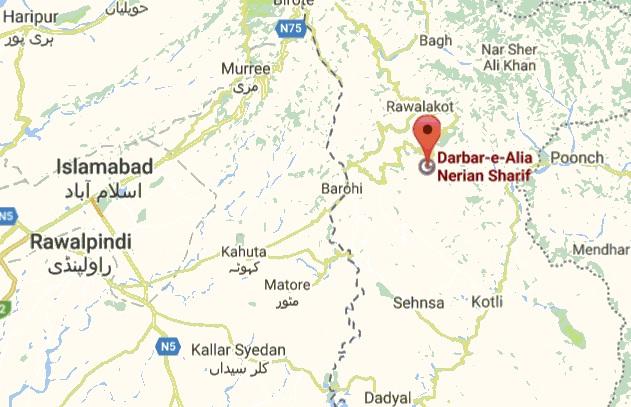 Darbar Nerian Sharif Near Rawlakot Azad Kashmir - Location Map