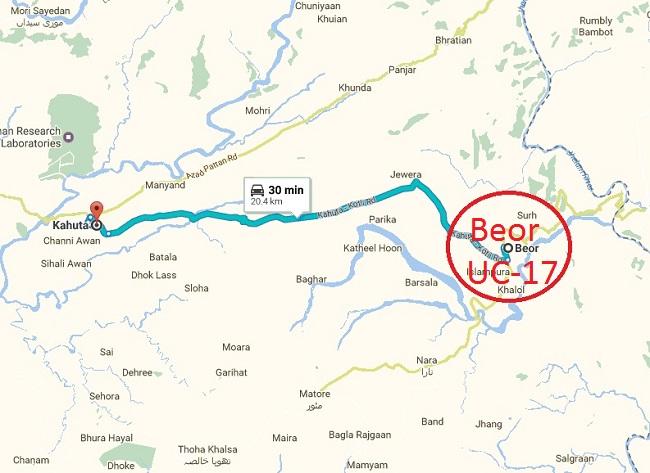 Beor UC 17 District Rawalpindi Kallar Syedaan - Location Map Near Kahuta City