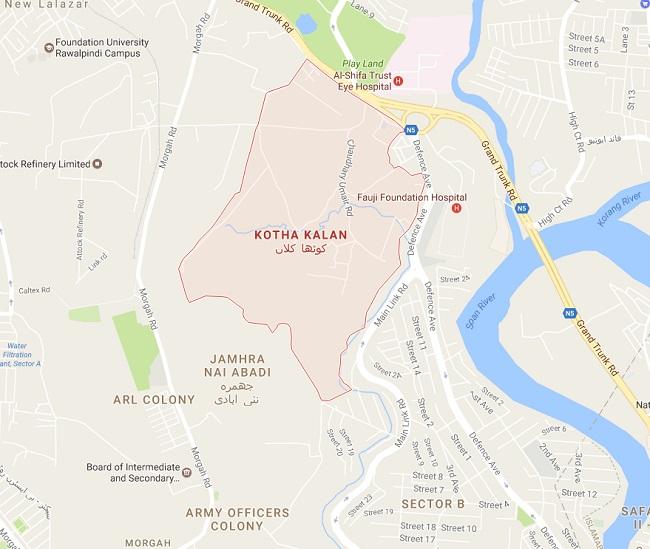 Kotha Kalan, Morgah, DHA Phase 1, Jhamhra, ARL Colony GT Road Rawalpindi - Location Map UC NO 80, 81