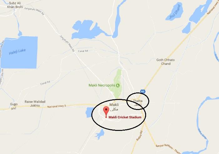 Makli Cricket Stadium Thatta - Location Map Nawaz Sharif PMLN Jalsa