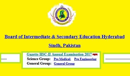 BISE Hyderabad Board Inter-FA FSc HSSC-II Result 2017