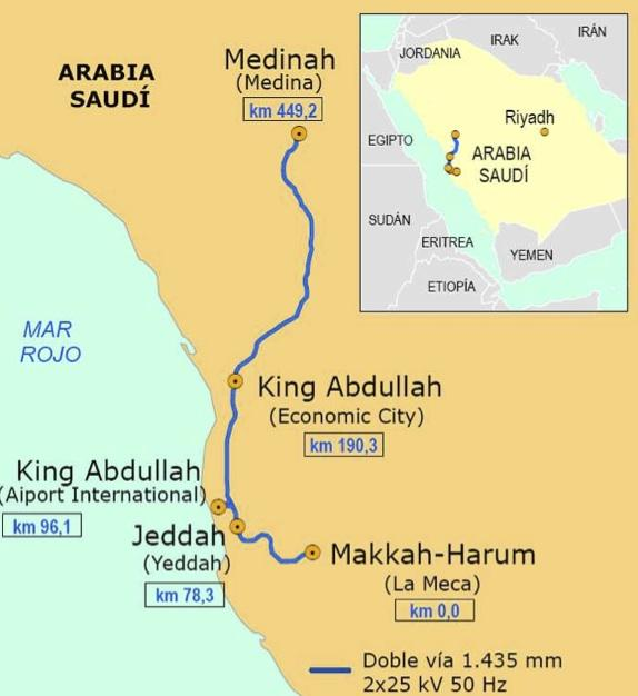 Haramain High Speed Rail Train Route Map Makkah to Jeddah and Madinah