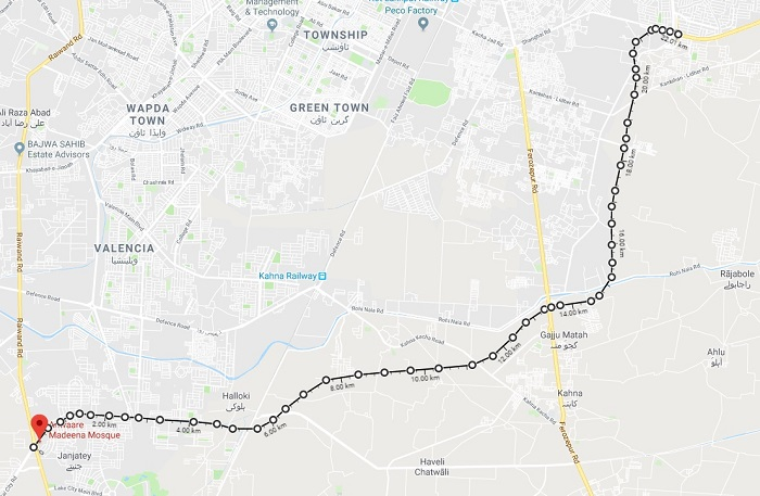 Lahore Southern Ring Road Loop 1 and Loop 2 - Detail Route Map 22 KM Long