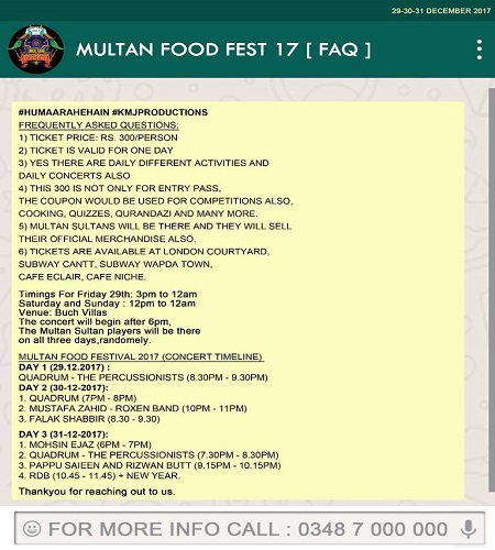 Multan Food Fest and Music Concert Along with New Year Night 2018 Celebration