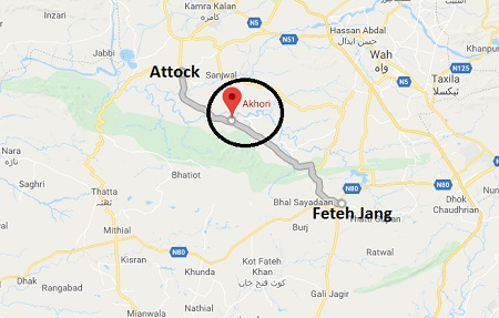 Akhori Fateh Jang-Attock Road Location Map - PPP Jalsa