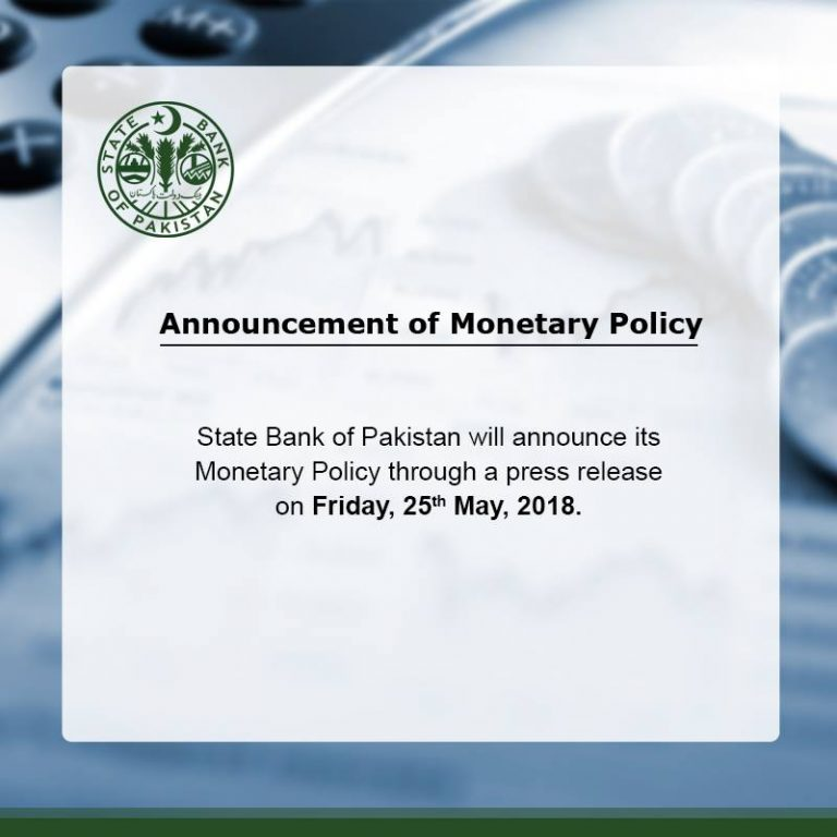 State Bank of Pakistan (SBP) Monetary Policy Announcement on 25th May 2018 - Press release