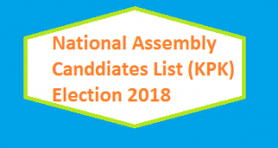 KPK NA Contesting Candidates List for Election 2018 - PTI, PMLN, PPP, MMA, ANP TLP
