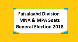 MNA and MPA Seats in Faisalabad Division - Chiniot, Jhang, T T Singh and Faisalabad Districts - Election 2018