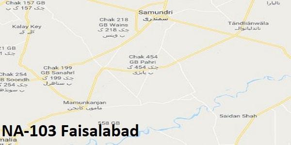 NA 103 Faisalabad Google Area Location Map Election 2018 National Assembly constituency (Halqa)-min