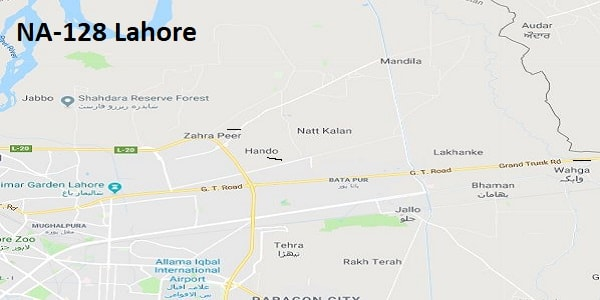 NA 128 Lahore Google Area Location Map Election 2018 National Assembly constituency (Halqa)-min