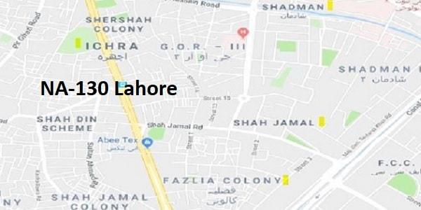 NA 130 Lahore Google Area Location Map Election 2018 National Assembly constituency (Halqa)-min