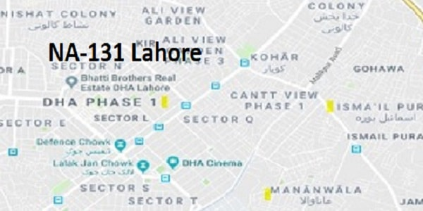 NA 131 Lahore Google Area Location Map Election 2018 National Assembly constituency (Halqa)-min