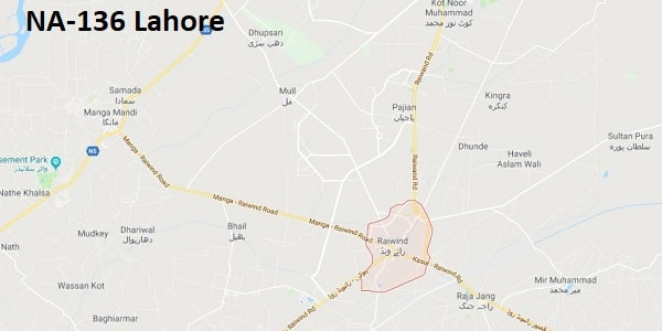 NA 136 Lahore Google Area Location Map Election 2018 National Assembly constituency (Halqa)-min