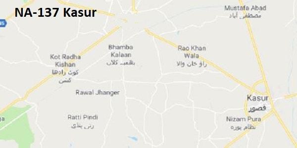 NA 137 Kasur Google Area Location Map Election 2018 National Assembly constituency (Halqa)-min