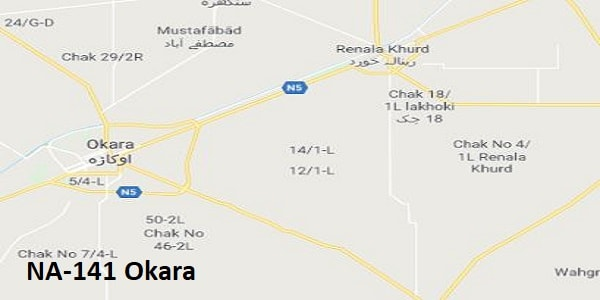 NA 141 Okara Google Area Location Map Election 2018 National Assembly constituency (Halqa)-min