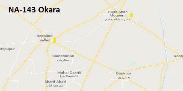 NA 143 Okara Google Area Location Map Election 2018 National Assembly constituency (Halqa)-min