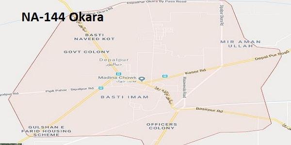 NA 144 Okara Google Area Location Map Election 2018 National Assembly constituency (Halqa)-min
