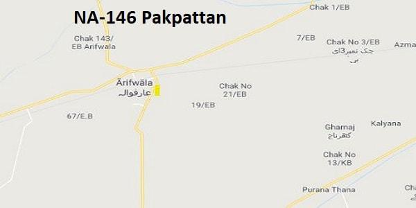 NA 146 Pakpattan Google Area Location Map Election 2018 National Assembly constituency (Halqa)-min